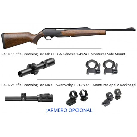 Pack Monteria - Rifle Browning Bar Mk3 Hunter Fluted + monturas + Visor + Armero