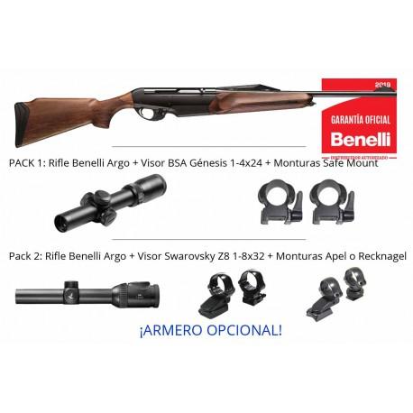 Pack Monteria - Rifle Benelli Argo + monturas + Visor + Armero