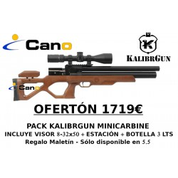 PACK OFERTA - Carabina PCP Kalibrgun Cricket Mini Carabine + Visor + Botella
