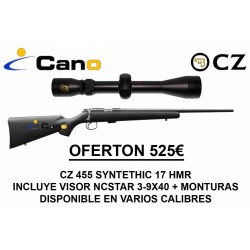 PACK OFERTA 17 HMR Rifle Ceska CZ 455 Synthetic + Visor