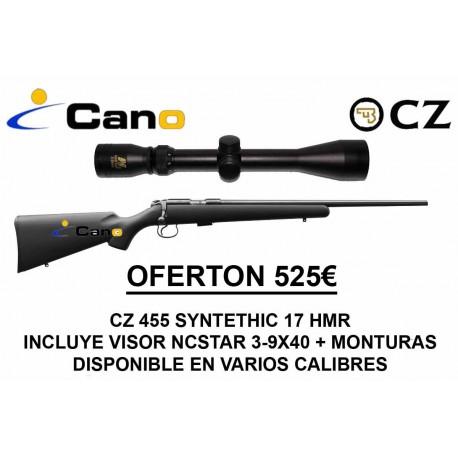 PACK OFERTA 17 HMR Rifle Ceska CZ 455 Synthetic + Visor